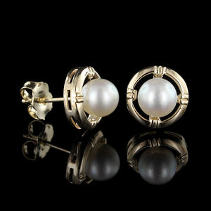14K Yellow Gold Pearl Studs