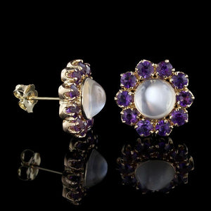 14K Yellow Gold Moonstone and Amethyst Earrings