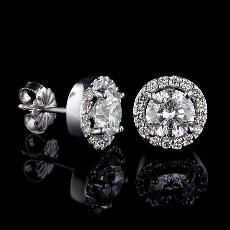 14K White Gold Estate Diamond Halo Earrings