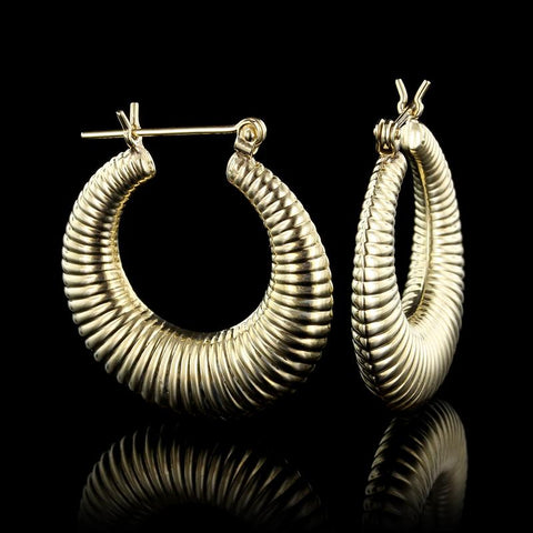 14K Yellow Gold Ribbed Hoops
