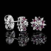 14K White Gold Ruby and Diamond Earrings