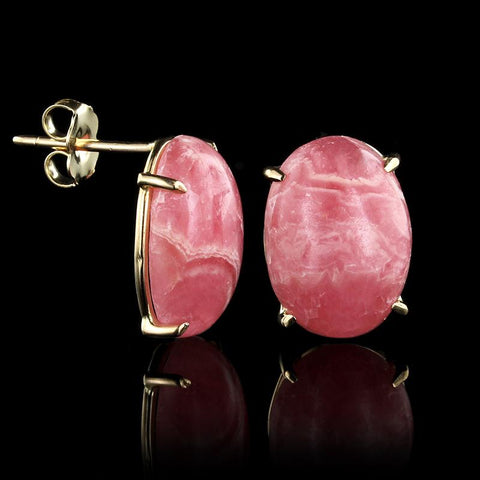 14K Yellow Gold Estate Rhodocrosite Earrings