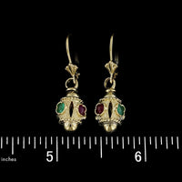 14K Yellow Gold Emerald and Ruby Earrings