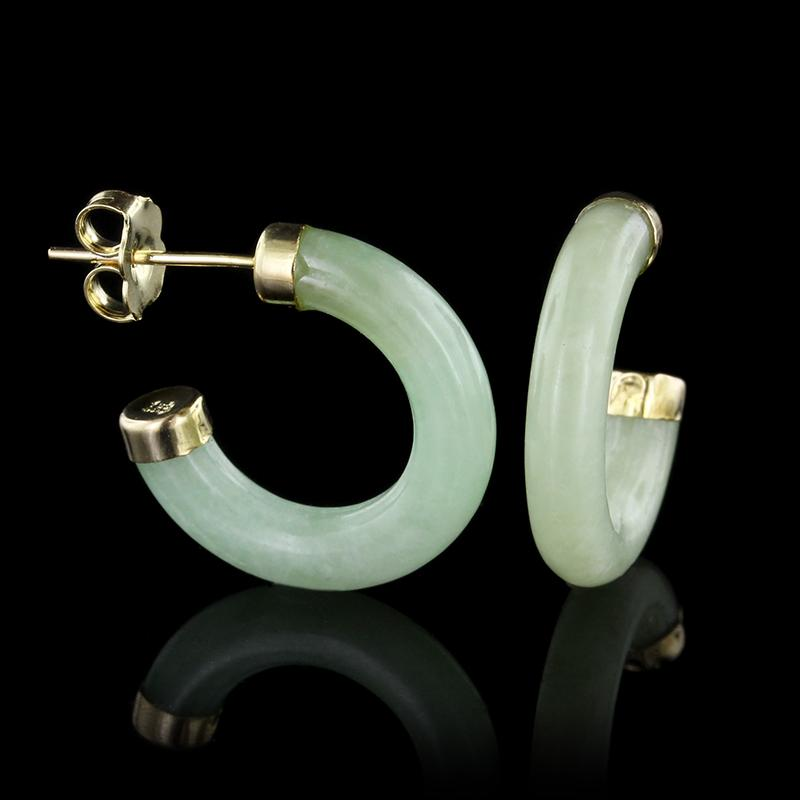 18K Yellow Gold Jadeite Hoop Earrings