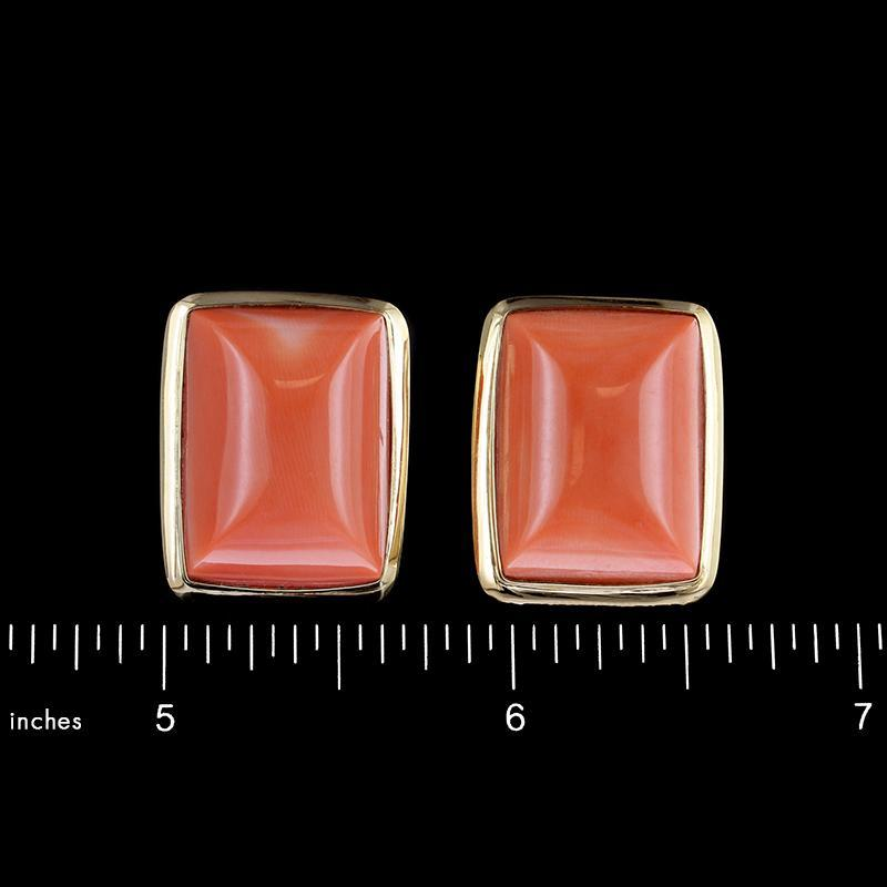 14K Yellow Gold Estate Coral Earrings