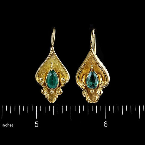 Antique 14K Yellow Gold Emerald Earrings