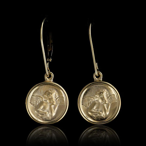 14K Yellow Gold Guardian Angel Earrings