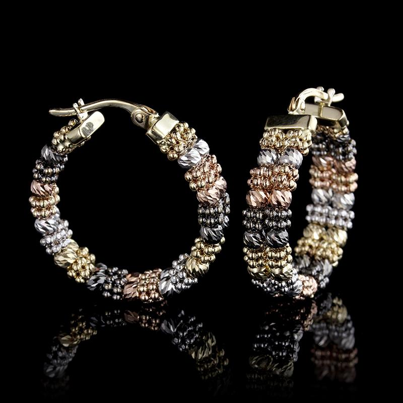 14K Tricolor Gold Estate Black Rhodium Hoop Earrings