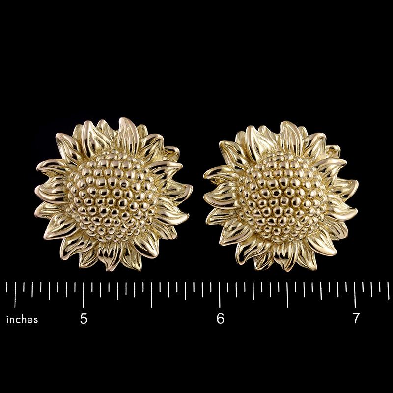 14K Yellow Gold Sunflower Earrings