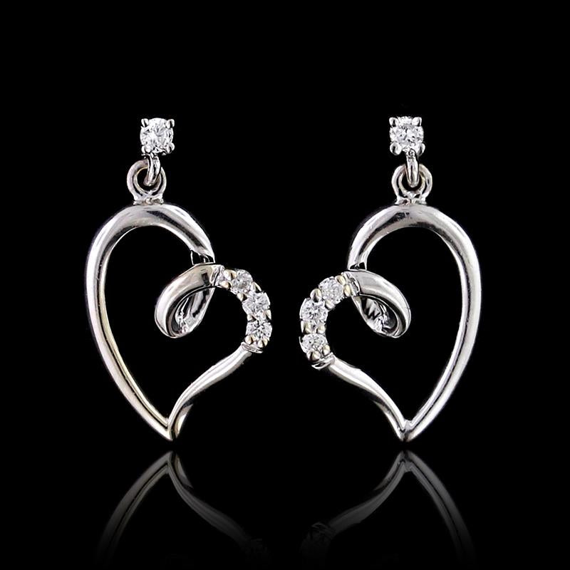 14K White Gold Estate Diamond Heart Earrings