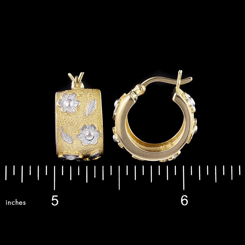 14K Two-Tone Gold Estate Hoop Earrings