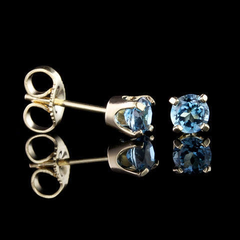 14K Yellow Gold Blue Topaz Studs