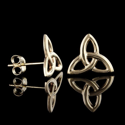 14K Yellow Gold Celtic Trinity Knot Earrings