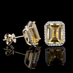 14K Yellow Gold Citrine and Diamond Earrings
