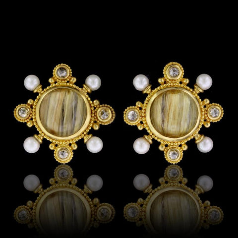 22K Yellow Gold Rutilated Quartz, Pearl and Diamond Earring