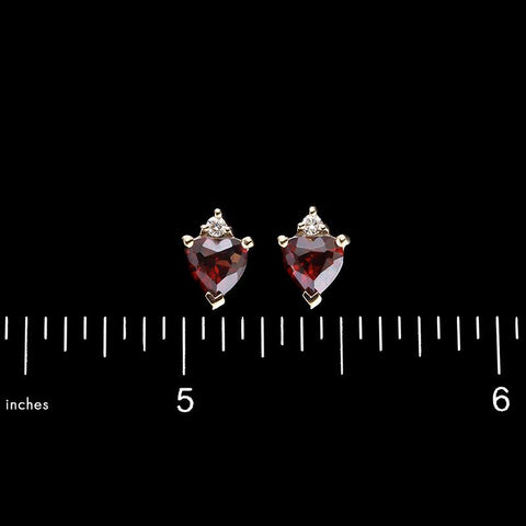 14K Yellow Gold Garnet and Diamond Earrings