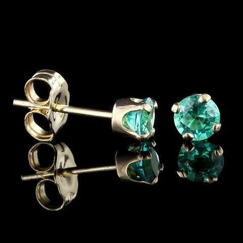 14K Yellow Gold Emerald Studs