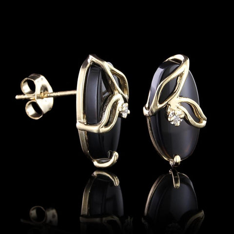 14K Yellow Gold Onyx and Diamond Earrings