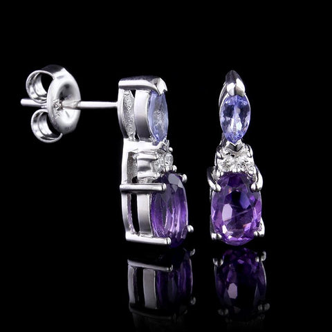 14K White Gold Tanzanite, Amethyst and Diamond Earrings