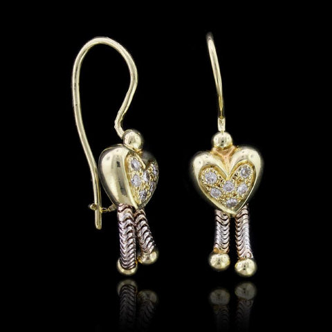 18K Two-Tone Gold Diamond Heart Earrings