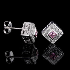 14K White Gold Pink Sapphire and Diamond Earrings