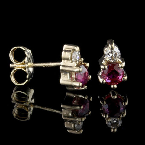 18K White Gold Diamond, Ruby, Sapphire and Emerald Earrings