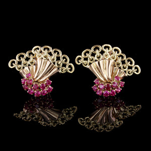Rossello Retro Style 18K Rose and Yellow Gold Estate Synthetic Ruby Earrings