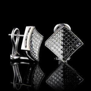 14K White Gold Estate Black Diamond and Diamond Earrings