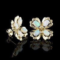 14K Yellow Gold Estate Opal Earrings