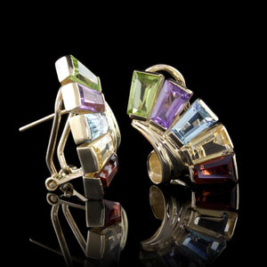 14K Yellow Gold Estate Gem-Set Earrings