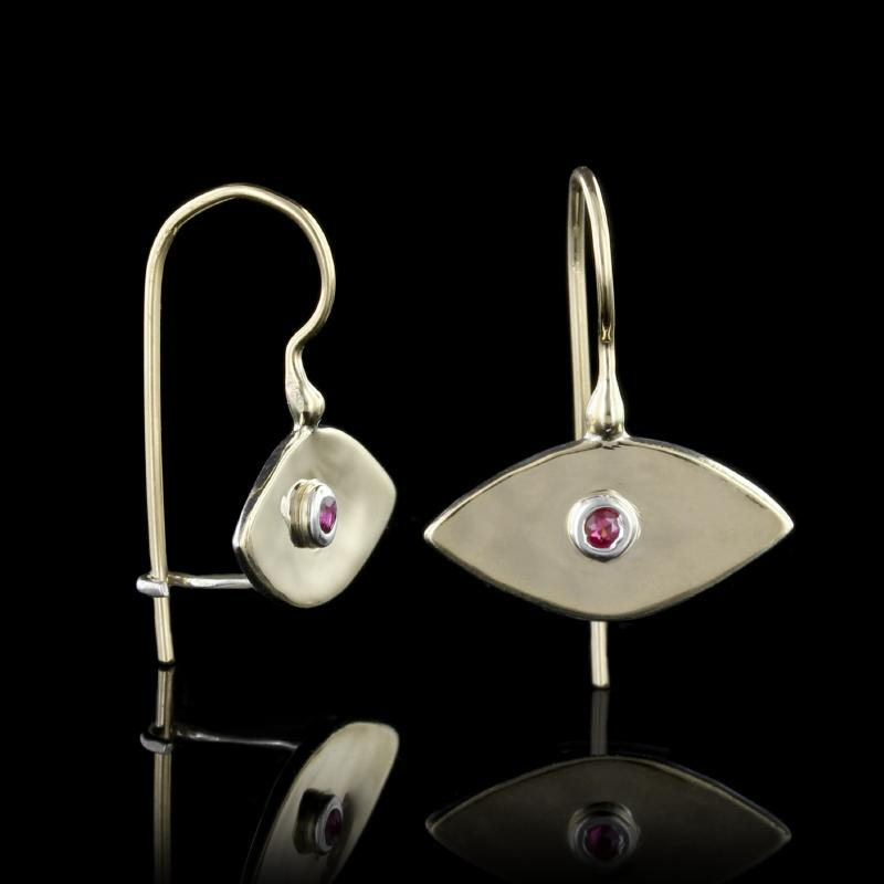 Sterling Silver and 14K Yellow Gold Estate Ruby Evil Eye Earrings