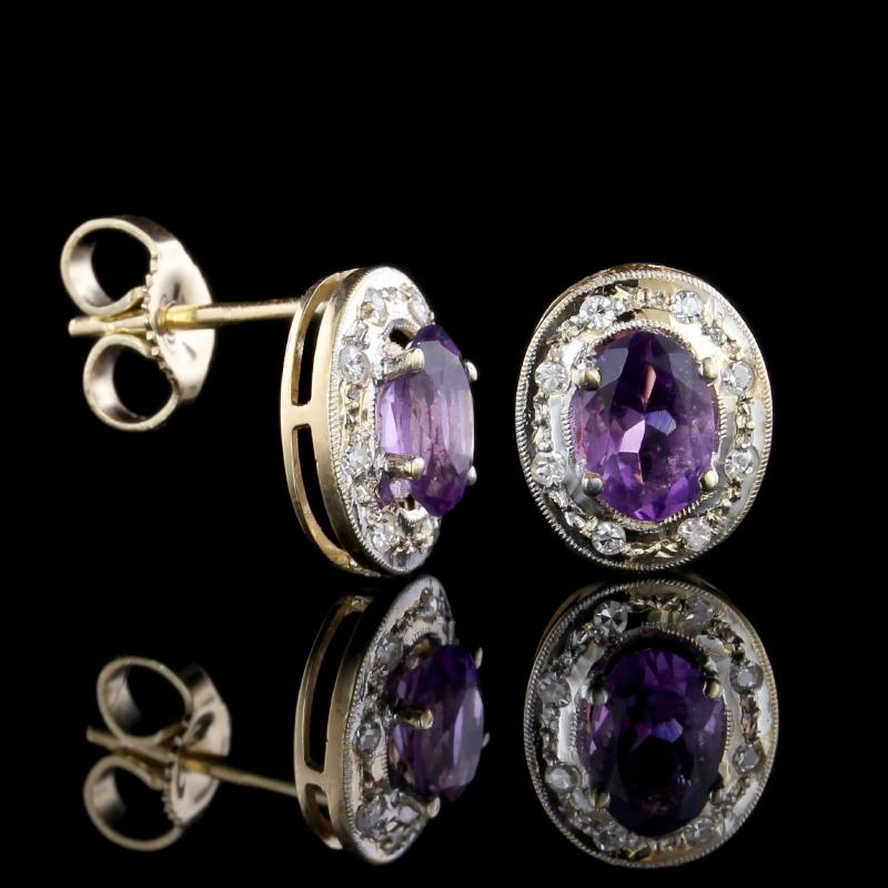 14K Yellow Gold Amethyst and Diamond Earrings