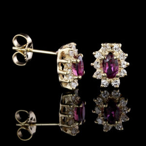 14K Yellow Gold Estate Ruby and Diamond Earrings