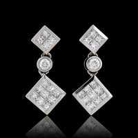 18K White Gold Estate Diamond Earrings