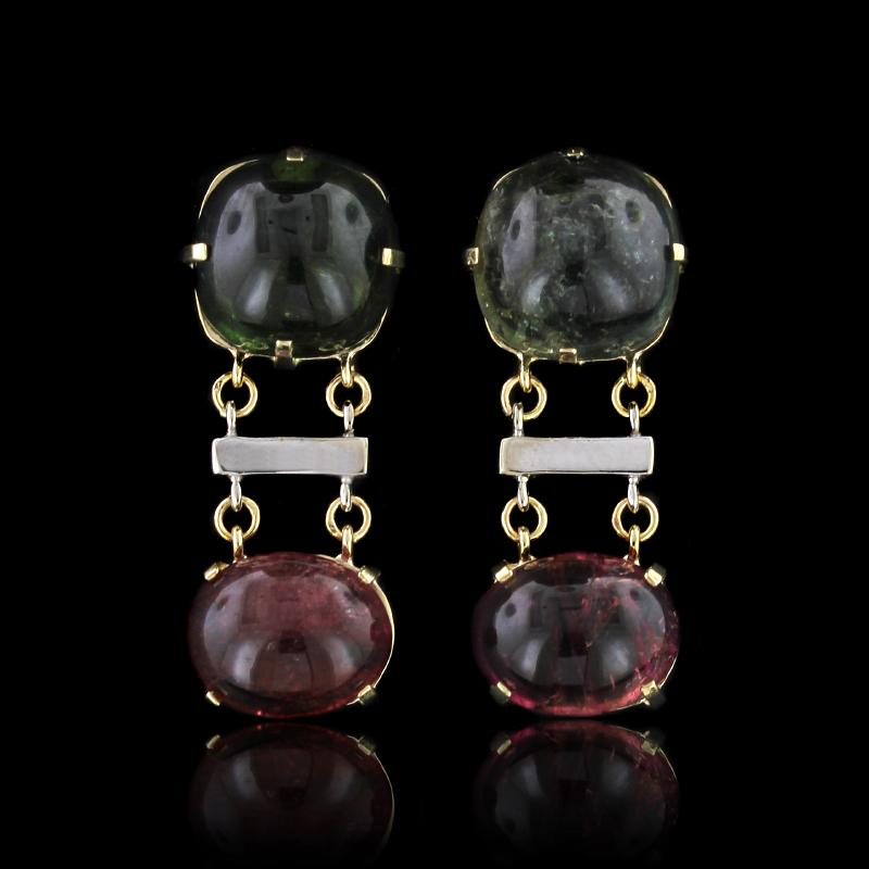 14K Two-Tone Gold Estate Tourmaline Earrings