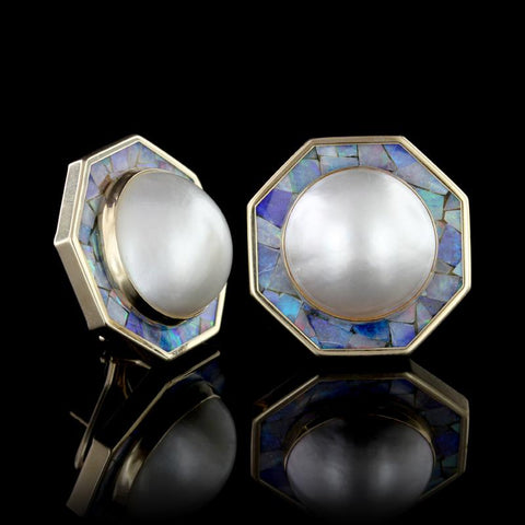 14K Yellow Gold Mabe Pearl and Opal Mosaic Earrings