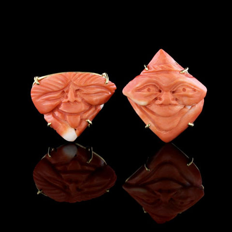 18K Yellow Gold Carved Coral Mask Earrings