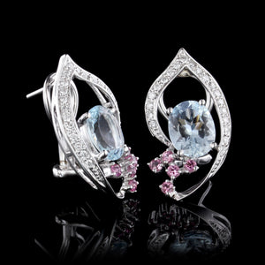 14K White Gold Estate Aquamarine, Pink Sapphire and Diamond Earrings
