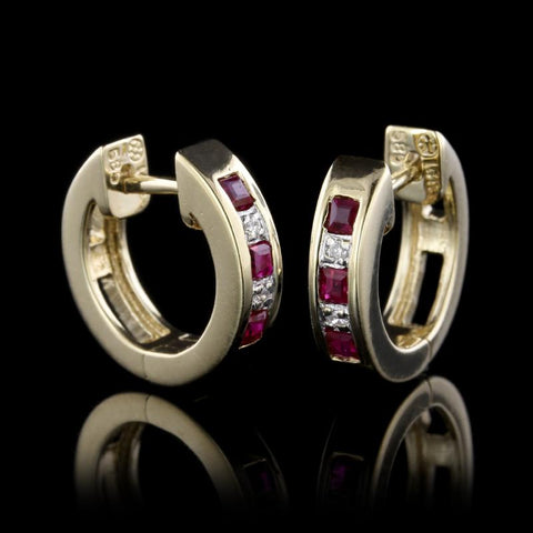 14K Yellow Gold Ruby and Diamond Hoop Earrings