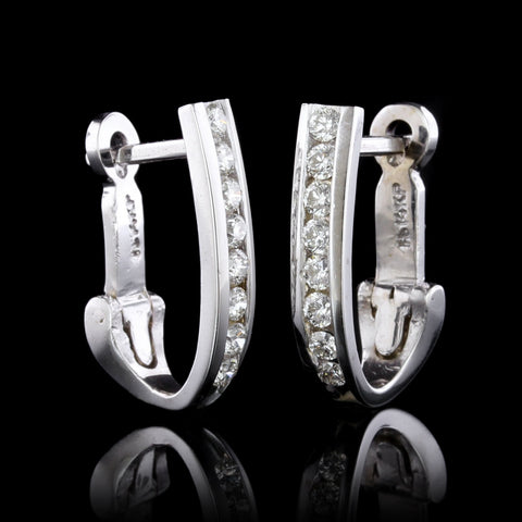 14K White Gold Diamond Hoops