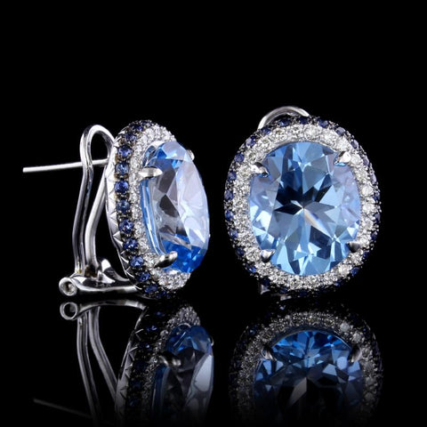 Le Vian 14K White Gold Blue Topaz, Sapphire and Diamond Earrings