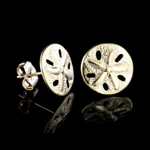 14K Yellow Gold Sand Dollar Earrings