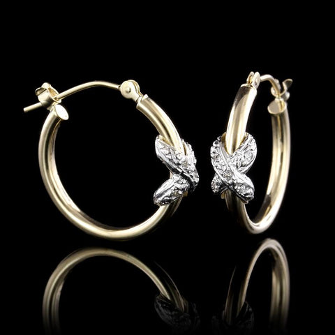 14K Two-Tone Gold Diamond Hoop Earrings