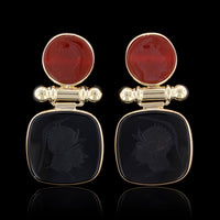 14K Yellow Gold Onyx and Carnelian Intaglio Earrings