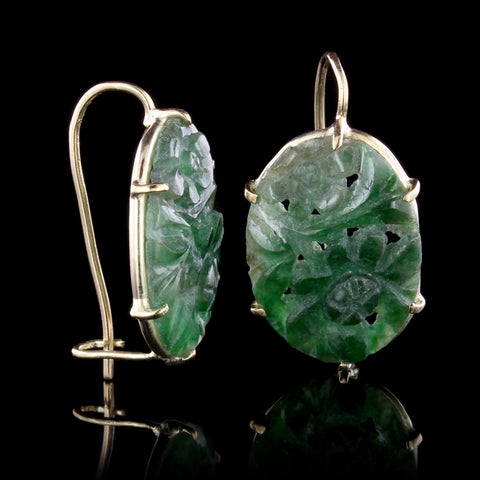 14K Yellow Gold Carved Jade Earrings
