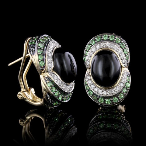14K Yellow Gold Onyx, Tsavorite and Diamond Earrings