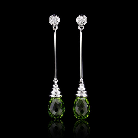 14K White Gold Peridot and Diamond Earrings