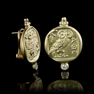 18K Yellow Gold Estate Athenian Owl Coin Replica Diamond Earrings
