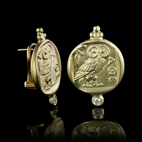 18K Yellow Gold Athenian Owl Coin Replica Diamond Earrings