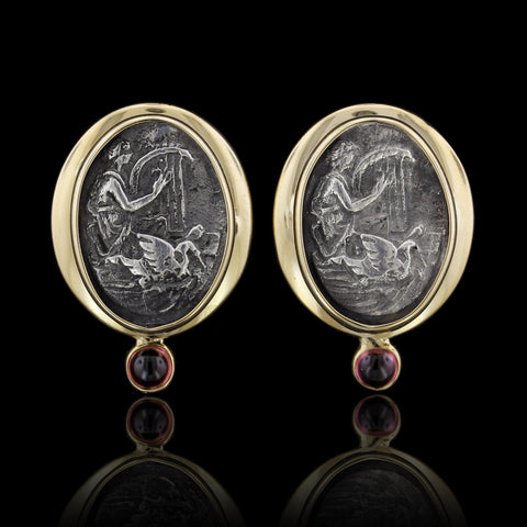 14K Yellow Gold and Sterling Silver Estate Cameo Pink Tourmaline Earrings